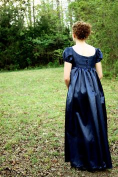 Navy Blue, Crossed Neckline Regency Dress, Formal Ball Gown, and Reenactment Costume. $159.99, via Etsy.