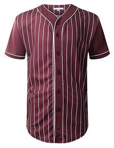 3dbf9d2bb URBANCREWS Mens Hipster Hip Hop Striped Baseball Jersey T-Shirt Burgundy  Large