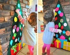 Home Decor Ideas: The ornament cut-outs on this felt Christmas tree are removable