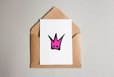 Hot Pink Crown Postcard Printable 5x7 Card Folded Postcard