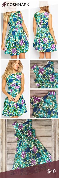 """Emily and Fin Floral Dress Purchased via Modcloth. Beautiful floral design throughout. Flattering a-line silhouette. Fully lined. Hidden back zipper. Back button at neck and keyhole opening. 100% cotton. Waist 13"""" across laid flat. Bust 15"""" armpit to armpit. Length 36"""" shoulder to hem. Excellent condition. NO TRADES/NO MODELING ModCloth Dresses"""