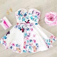 Sweet White Print Dress on Luulla Elegant Dresses, Pretty Dresses, Sexy Dresses, Beautiful Dresses, Dress Outfits, Gorgeous Dress, Beautiful Clothes, Casual Dresses, Model Outfits