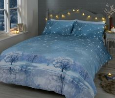 Rapport Starry Night Christmas Winter Snow Duvet Cover Bedding Set Blue or Grey | eBay King Duvet Cover Sets, Double Duvet Covers, Single Duvet Cover, Comforter Cover, Bed Duvet Covers, Duvet Sets, Blue Bedding Sets, Blue Duvet, King Size Duvet