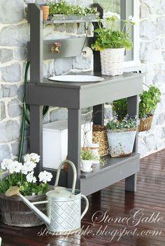 Etabli de jardinage palettes