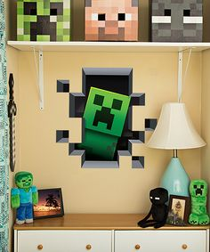 Minecraft Creeper Wall Cling - fun little touch for a Minecraft inspired bedroom!