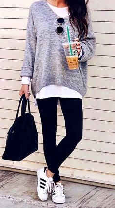 #fall #outfits  women's gray sweater and pair of black leggings