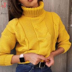 NO-melon Autumn Winter Short Sweater Women Knitted Turtleneck Pullovers Casual Soft Jumper Fashion Long Sleeve Sweater And Shorts, Long Sleeve Sweater, Jumper, Winter Shorts, Casual Chique, Mexican Outfit, Mode Style, Ideias Fashion, Sweaters For Women