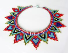 Peyote beaded Multicolor Native Mexican ethnical inspired HEARTS NECKLACE choker handmade by Luciana Lavin by LucianaLavin on Etsy