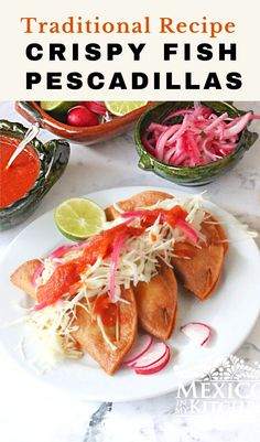 Cod Fish Crispy Tacos. This recipe is for a dish known in Mexico as Pescadillas, which are mouth-watering crispy tacos made with fish and corn tortillas. To help complement the tacos, I'm also including the recipe for a delicious salsa for tacos. Real Mexican Food, Mexican Food Recipes, Ethnic Recipes, Seafood Recipes, Chicken Recipes, Crispy Tacos, Cod Fish, Vegetarian Options, Latin Food