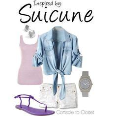Denim jacket (check), light pink tank (check), white shorts (check), cute purple sandals (?!?!)