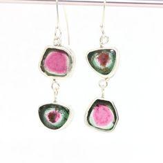 "Watermelon Tourmaline Slice ""Miss Matched"" Double Drop Earrings #jewelry"