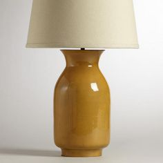 One of my favorite discoveries at WorldMarket.com: Yellow Patina Jug Table Lamp Base