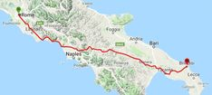 ViewRanger GPS Maps and Routes Italy: The Appian Way [Ancient Roman Road] Brindisi-Benevento-Rome 28 Stages 697 Km Appian Way, Roman Roads, Gps Map, Ancient Romans, Rome, Maps, Hiking, Italy, Walks