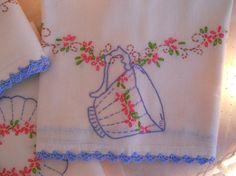 4 vintage embroidered tea towels, crochet edging, pink floral garlands, teacup, sugar bowl, shabby cottage charm, vintage hand work, unused