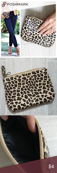 NWT leopard small clutch wallet Cute leopard animal print bag. Zipper closure. Could be used as a wallet, small makeup bag or clutch. This is from side kicks that originally had flats on the bag. No flats with purchase - just the bag. Bundles 20% off - great item to bundle! Bags