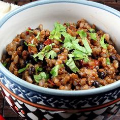 Vegetarian Rice and Beans - delicious and easy! Loved it with extra jalapeno, and Mexican chili powder.