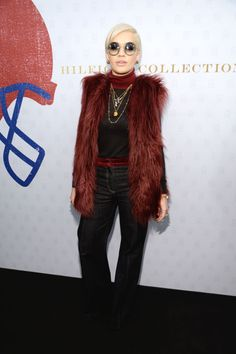 Rita Ora attends Tommy Hilfiger Presents Fall 2015 Women's Collection...look at this chic faux fur #vest...I love it...:)  #ritaora #celebrity #style #fashion #redcarpet