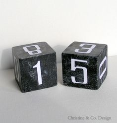 Black Perpetual Calendar Block Set with by ChristineandCodesign, $25.00 #giftfordad #dad