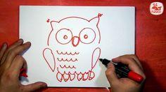 Как нарисовать Сову, Урок рисования красным маркером