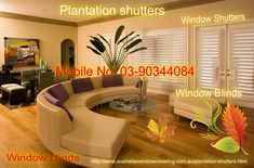 Custom Plantation shutters with wide range of fabrics, colours and designs for all type of rooms. AWC offers online Plantation Shutters with best price in Melbourne. Window Blinds, Blinds Melbourne, Plantation Shutters,