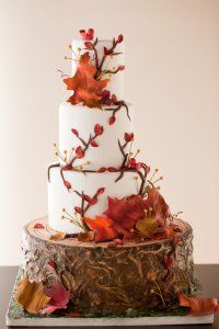 Autumn inspired wedding cake in brown, red, orange and a white frosting base. Neato cake stand!