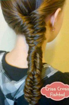 Criss cross fishtail braid