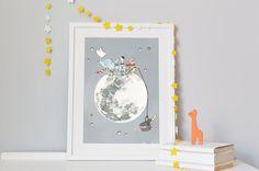 Children's Moon Art, Nursery Print, Kid's bedroom space decor, Personalised Baby Present, Illustration Giclée print