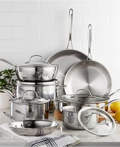 Calphalon Tri-Ply Stainless Steel Cookware Set is great for preparing mouthwatering meals daily. Handles stay cool on the cooktop, safe on all cooktops including induction and oven safe to degrees. Cast Iron Cookware, Cookware Set, Calphalon Cookware, Fun Cooking, Bakeware, Kitchen Appliances, Kitchen Utensils, Stainless Steel, Pots