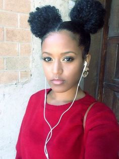Two Puff Balls Two Ponytails Hair Puff Natural Hair Styles