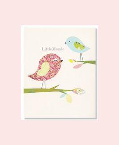 "NURSERY ART PRINT Decor Personalized 8x10"" Nursery Print, Baby Girl Room Decor, Little Birds, Flowers, Rose Pink Beige"