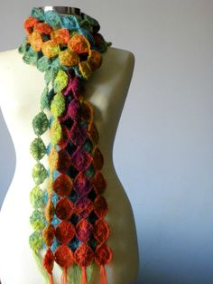 Crochet scarf LOVE this :-) :-) :-) great way to use up scrap yarn.