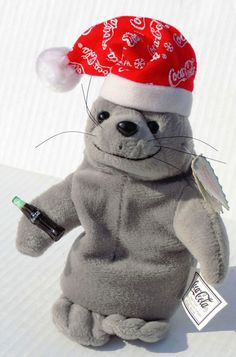 Coca-Cola Seal Snowflake 8 Inch Bean Bag Plush With Tags Gray With Red Hat #CocaCola