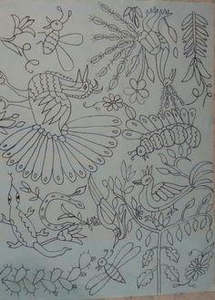 Mi plantilla 1 Diy Otomi Embroidery, Mexican Embroidery, Ribbon Embroidery, Cross Stitch Embroidery, Embroidery Patterns, Stitch Patterns, Outline Drawings, Cool Art Drawings, Mexican Artwork