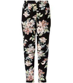 Black Floral Print Slim Leg Trousers