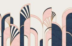 art deco interior Blue and Pink Art Deco Print Arches Wallpaper Mural Motif Art Deco, Art Deco Print, Art Deco Decor, Art Deco Stil, Art Deco Pattern, Modern Art Deco, Art Deco Design, Decoration, Art Deco Colors