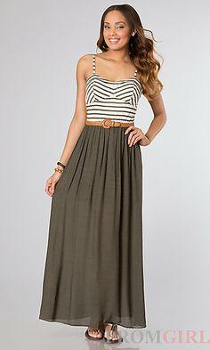 Casual Long Spaghetti Strap Dress at PromGirl.com#dress #maxi #maxidress