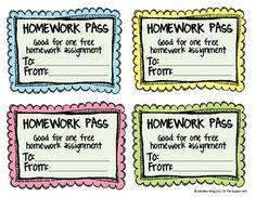 *Free* No Homework and Late Homework Passes