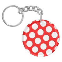 Big Red and White Polka Dots Acrylic Key Chain Customized Gifts, Personalized Gifts, Online Gifts, Background Patterns, Keychains, Red And White, Polka Dots, Messages, Create