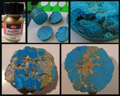 Simulated Turquoise - Polymer clay beads mixed & compressed with gold pigment paint