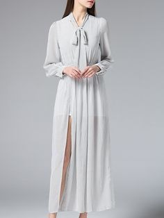 Shop Grey Tie Neck Split Grid Maxi Dress online. SheIn offers Grey Tie Neck Split Grid Maxi Dress & more to fit your fashionable needs.