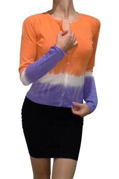 Cotton & Natural Fiber Cardigan! Orange with Gradient Tie Dye. - 5dollarfashions.com