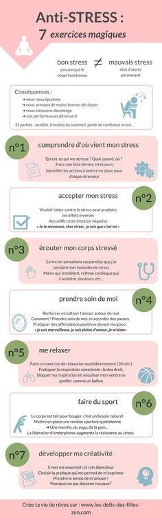 Anti-stress: 7 magic exercises to fight the stre .- Anti-stress: 7 exercices magiques pour lutter contre le stress Anti-stress infographics: my 7 magic exercises to fight against stress. Positive Mind, Positive Attitude, Anti Stress, Usui Reiki, Miracle Morning, Burn Out, Positive Affirmations, Better Life, Self Improvement