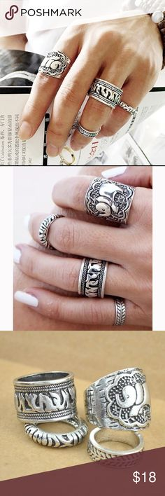 Carved Elephant Totem Leaf Rings 4 pcs Carved Bohemian Elephant Totem Leaf Rings Available in Silver And Antique Gold Finish. Rings are Sized S/M fits sizes 4-7 Jewelry Rings
