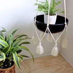 Hanging Table/Plant Holder with Tassels - Cream Cotton - Norwegian Wood Hanging Table, Diy Hanging, Hanging Plants, Macrame Plant Holder, Plant Holders, Macrame Patterns, Plant Hanger, Boho, Beautiful