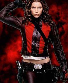 Hollywood beautiful Celebrity Jessica Biel Blade Trinity Abigail leather Jacket.
