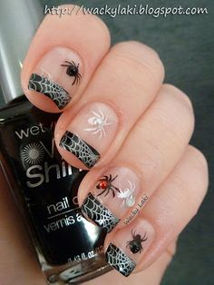 Black / White / Silver Spiders / Spiderwebs - HALLOWEEN NAILS - holidays - Wet 'n Wild nail polish (color Black Creme)