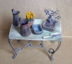 miniature potting table--love the bonsai