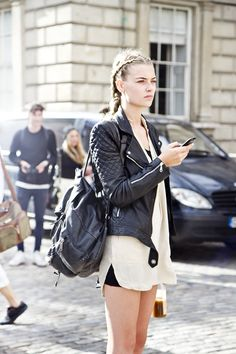 just a simple black and white combination plus the biker leather jacket to complete it up. tres chic!