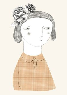 verónica de arriba + illustration + girl + flowers in her hair + menina com flores no cabelo + ilustração