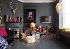 Eclectic, dark living room